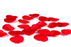 Several small red hearts tissue. On a white background Royalty Free Stock Image