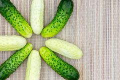 Several small star shaped cucumbers of different varieties on a wicker napkin stock image