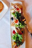 Several snacks served on birthday party or wedding celebration. stock photo