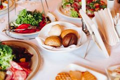 Several snacks served on birthday party or wedding celebration. stock photography