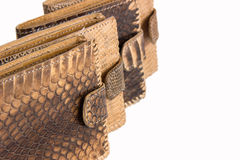 Several of snake skin purse on a white background. Several brown purse made of snake skin on a white background Royalty Free Stock Photo