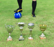 Several soccer trophies. Several soccer trophies against football player Royalty Free Stock Photography