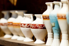 Several souvenir amphoras Royalty Free Stock Photos