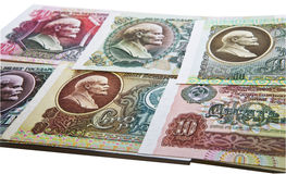 Several Soviet notes with Lenin Stock Photos