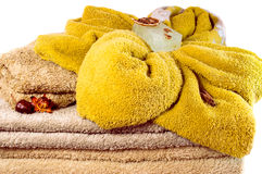 Several spa towels in pastel colors overwhite closeup Royalty Free Stock Images