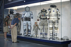 Several Space Suits at the Museum Royalty Free Stock Photos