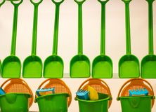 Several spades and buckets for playing children stock images