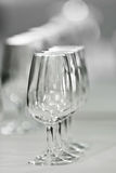 Several spanish glasses called catavinos. Spanish glass called catavinos for drinking wine like txakoli, a basque alcoholic drink Royalty Free Stock Photo