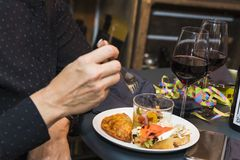 Spanish tapas called pintxos of the Basque country royalty free stock images