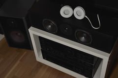 Several speakers from a 7.1 THX Hi-Fi sound system Royalty Free Stock Images