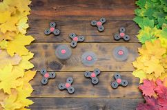 Several spinners among the many yellowing fallen autumn leaves on the background surface of natural wooden boards of dark brown c. Olor royalty free stock image