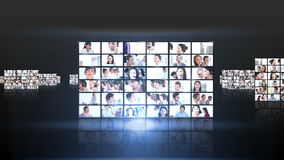 Several squares of short clips showing business people flying Stock Photo