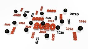 Several Squash ball 2020 Designs with Some Balls. On a White Background stock illustration