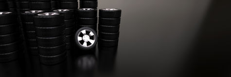 Several stacks of car tires Stock Photos