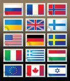 Several stamps with state flags. Several postmark with state flags and stamp Royalty Free Stock Photo