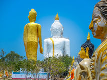 Several statues of Buddha posture. Big white Buddha statue in front of Stock Image