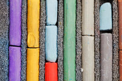 Several sticks of used artistic dry pastel Royalty Free Stock Photo