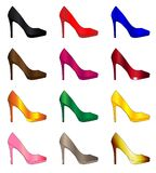Several Stiletto Heel Shoes. A collection of a dozen coloured stiletto heel shoes Stock Images