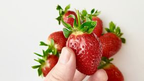 Strawberries in macro view. Several strawberries in macro view stock photography