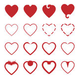 Several style of red heart icons set Royalty Free Stock Images