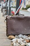 Suitcases and stones as memorial for Nazi occupation in Budapest. Several Suitcases and stones as memorial for Nazi occupation in Budapest Royalty Free Stock Photography
