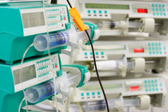 Several syringe pumps in ICU Royalty Free Stock Photos