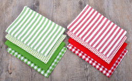 Several table napkins red and green Royalty Free Stock Image
