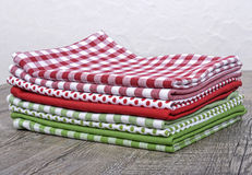 Several table napkins red and green Stock Photos