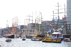 Several tallships in Amsterdam particiating at European large tallship event Royalty Free Stock Photo