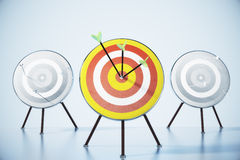 Several targets for darts and a direct hit on target Royalty Free Stock Images