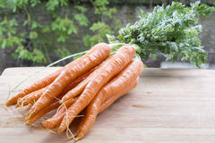 Several tasty orange carrots on the light wood with brick wall Royalty Free Stock Photos