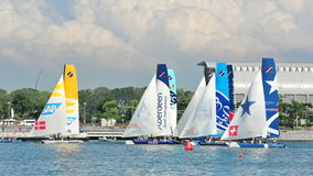 Several teams preparing for race start at Extreme Sailing Series Singapore 2013 Royalty Free Stock Image