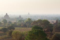Several temples in Bagan at morning Stock Image
