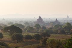 Several temples in Bagan at morning Royalty Free Stock Image