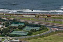 Several tennis court by seaside in Durban Stock Photo