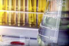 Several Test Tubes And Glass Of Precipitation In A Laboratory Royalty Free Stock Photography