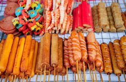 Several Thai sausage with bamboo stick Stock Photo