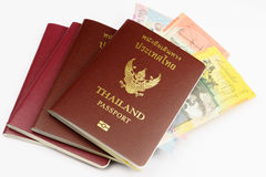 Several Thailand Passports with Australian Dollar Royalty Free Stock Photos