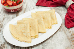 Several thin pancakes, with ingredients Royalty Free Stock Photography