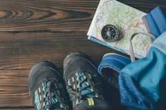 Several things for a mountain hike stock photography