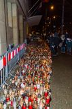 Several thousand candles at city hall of Gdansk at night. Commemoration of Pawel Adamowicz royalty free stock image