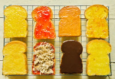 Several  toast with various topping Stock Photography