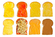 Several  toast with various topping Stock Photo