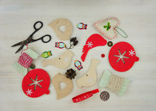 Several Tools and Materials to do Handicraft work for Christmas Royalty Free Stock Images