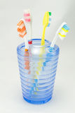 Several toothbrush put in storage and toothpaste Royalty Free Stock Photography
