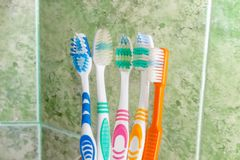 Several toothbrushes on a background of green tile Stock Photos