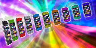 Several touchscreen smartphone Stock Photos
