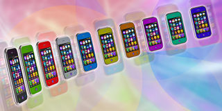Several touchscreen smartphone. On a colorful background Stock Image