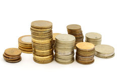 Several towers of different coins Stock Photo