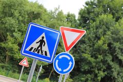 Lots of traffic signs. Several traffic signs in children traffic playground royalty free stock image